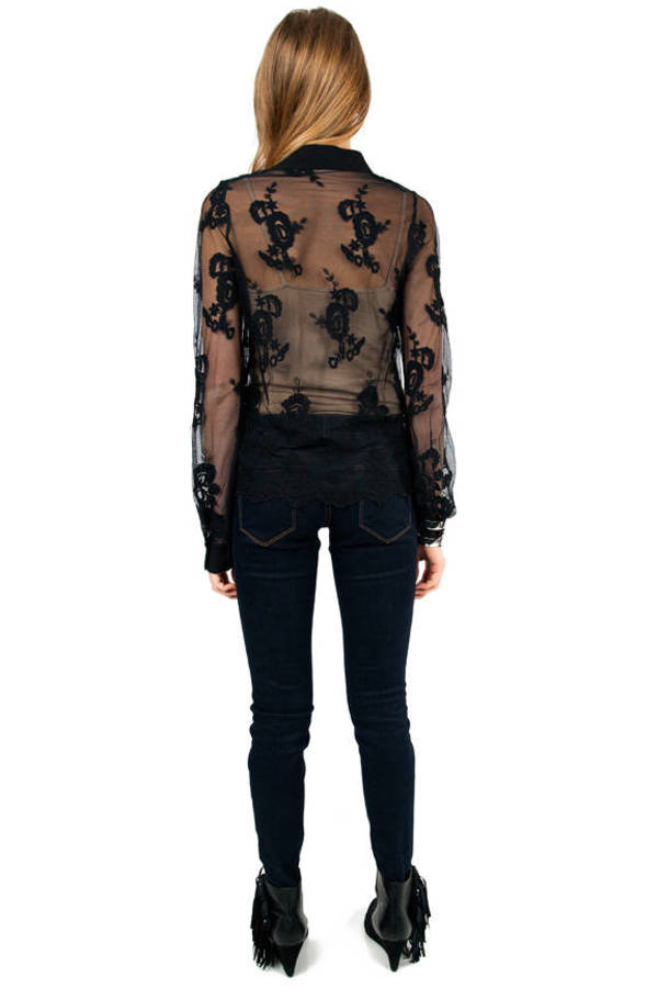 All Lace Button Front Blouse