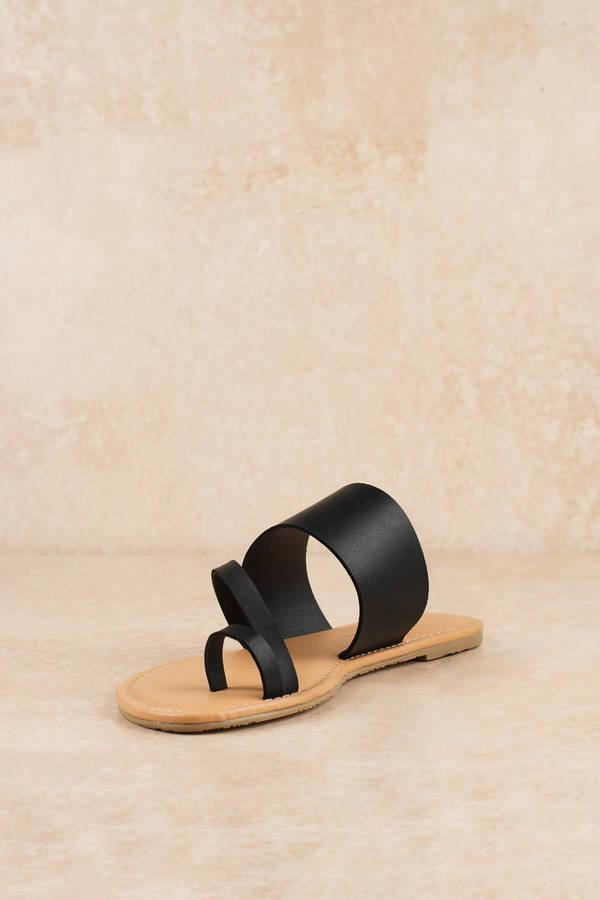 06b7387ec466 Chic Black Sandals - Faux Leather Sandals - Black Slip Ons - C  32 ...