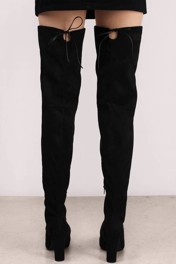 Trendy Black Boots - Black Boots - Suede Boots - $90.00