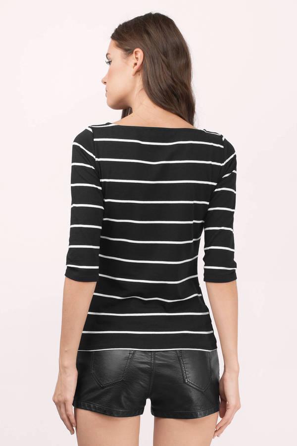 3045240f08d1e Cute Black Tee Shirt - Striped Tee Shirt - Black And White Tee Shirt ...