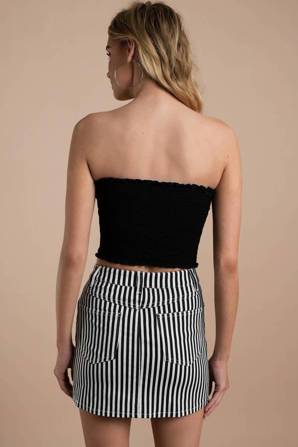 Black Skirt A Line Skirt Black Striped Denim Skirt 74 Tobi Us