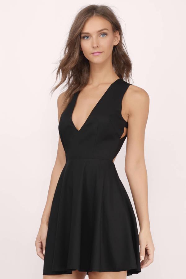 3db882647a Cute Black Skater Dress - Open Back Dress - Black Flare Dress -  22 ...