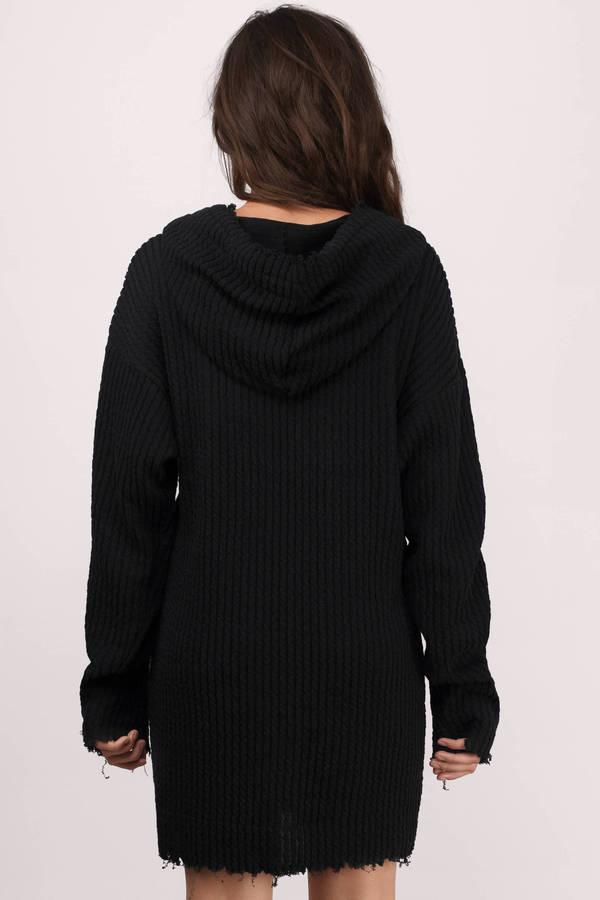 Black Day Dress - Black Dress - Sweatshirt Dress - $92.00