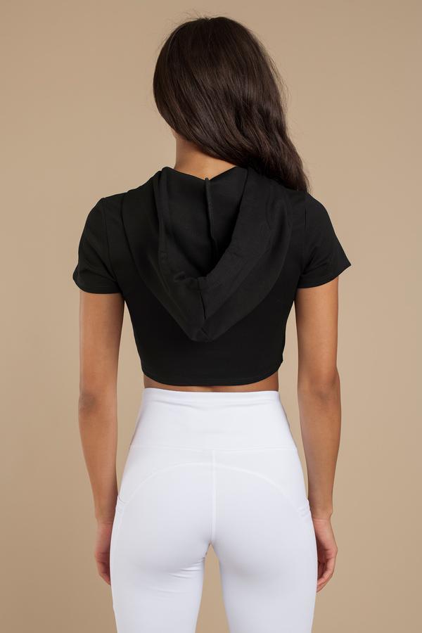 Trendy Black Crop Top Cropped Hoodie Short Sleeve