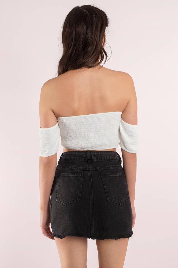 8d034d565e Black Skirt - Lace Up Skirt - Black Acid Wash Skirt - Frayed Skirt ...