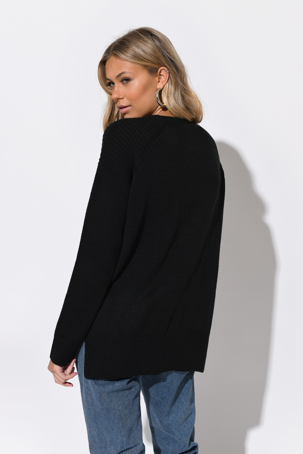 Cheap Black Sweater - V Neck Sweater - Lace Up Sweater - Black ...