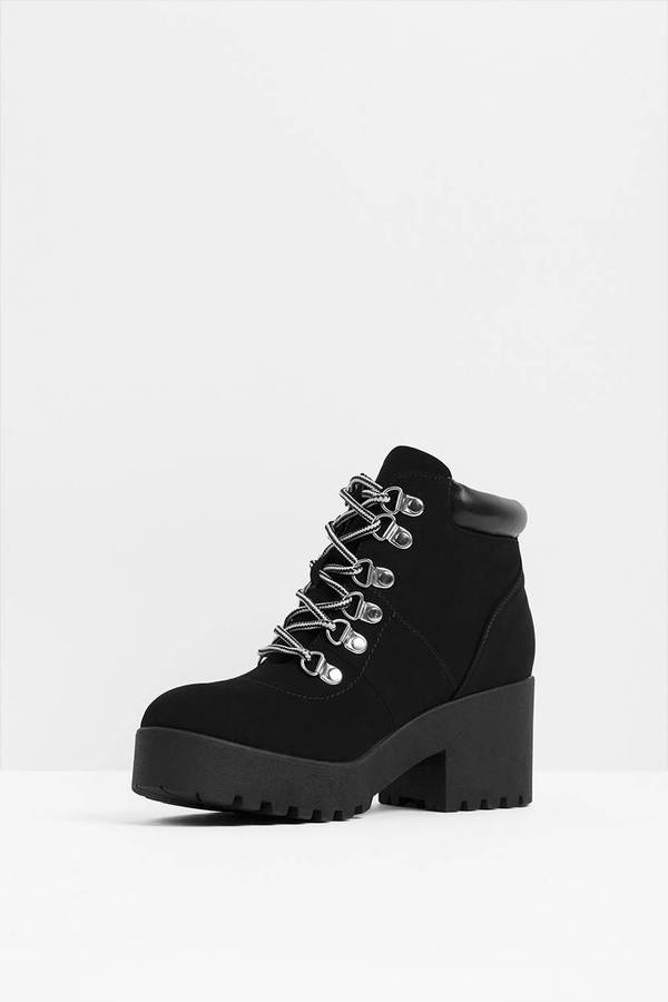 f6b3be2b89 Platform Boots - Black Ankle Boots With Laces - Short Boots With ...