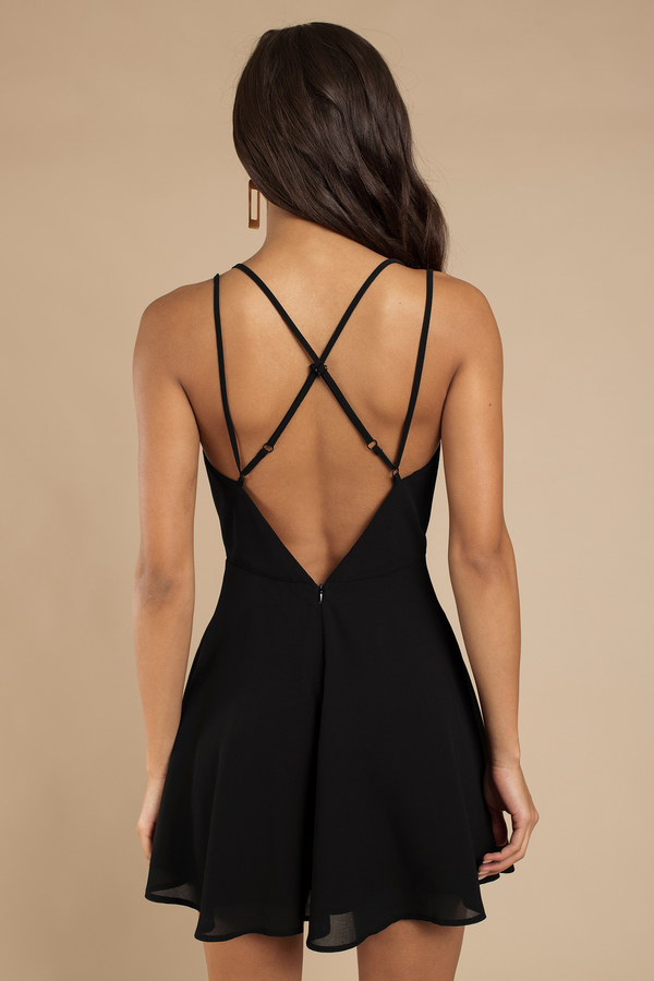 Strappy back black dress