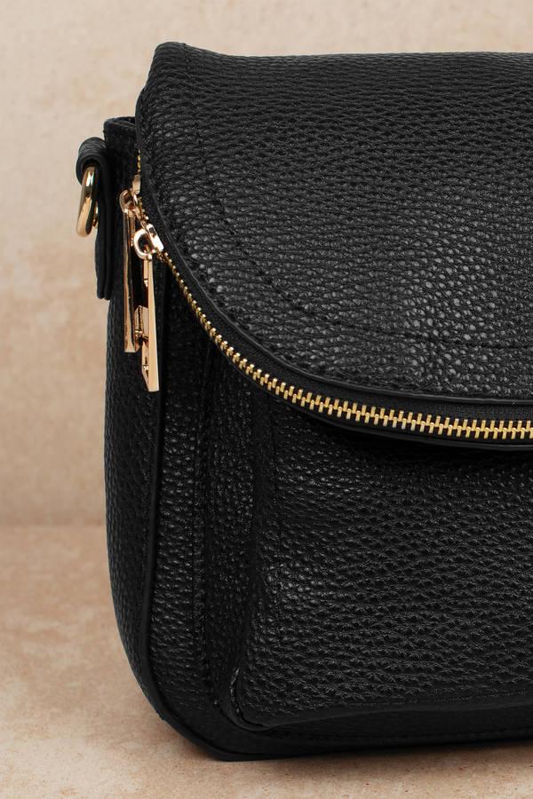 2ac481be80d84 Black Crossbody Bag - Zip Up Bag - Black Foldover Crossbody -  25 ...