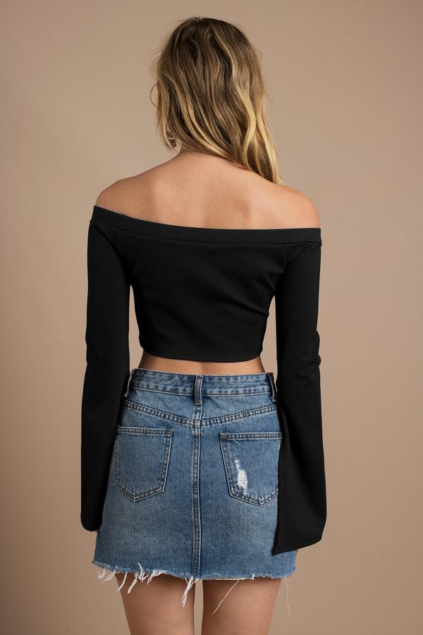 c222e3dfabf012 Trendy Black Crop Top - Off Shoulder Top - Black Bell Sleeves - $13 ...