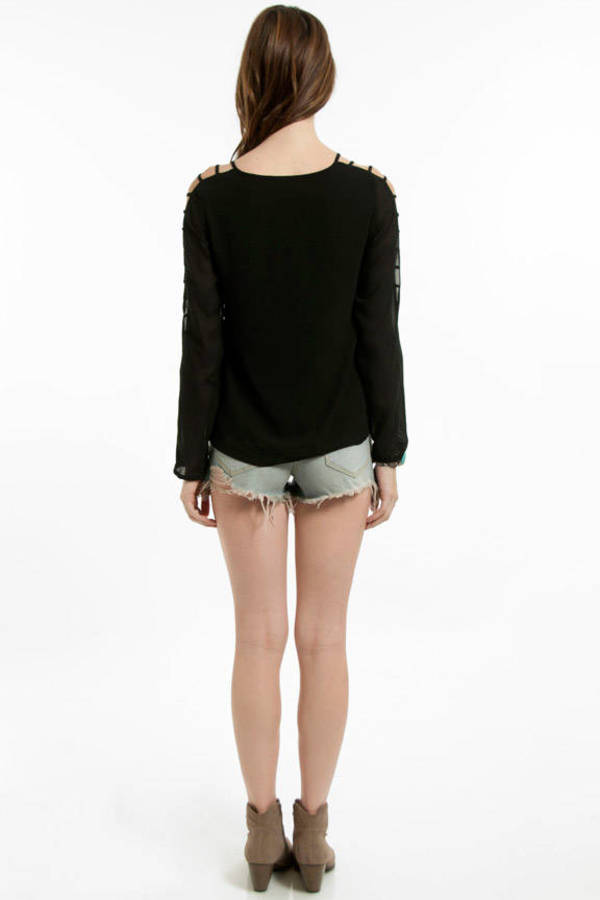 Chiffon Ladder Sleeve Top