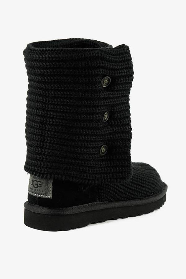... UGG Black Classic Cardigan Knit Sheepskin Boots ...