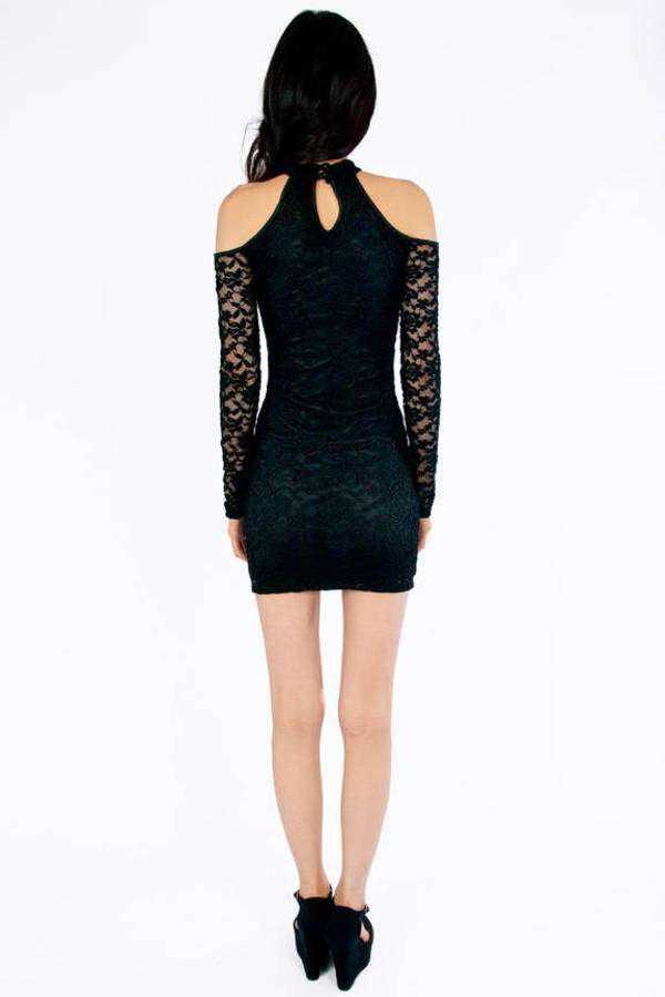 Cold Shoulder Lace Bodycon Dress
