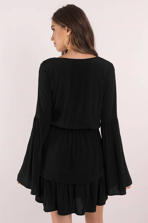 Sexy Black Skater Dress Plunging Dress Black Puff