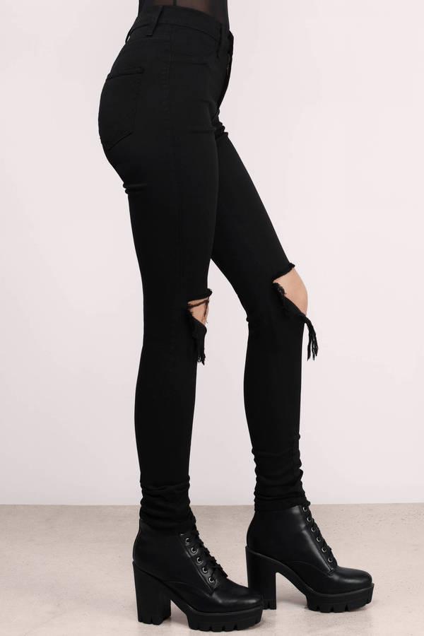 Cheap ladies high waist jeans