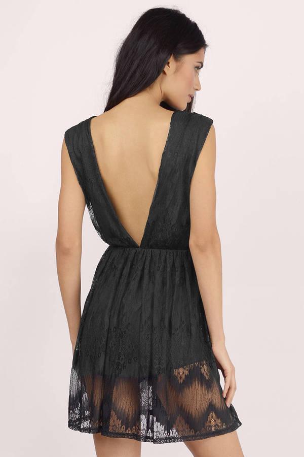 2dfeb3fe2a Cute Black Skater Dress - Black Dress - Deep V Dress - Skater Dress ...