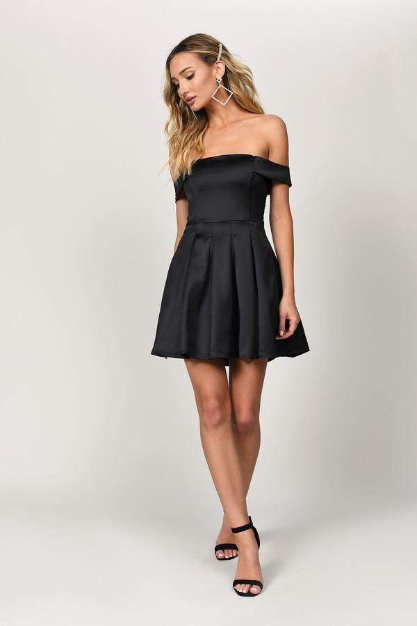 53fd0f562fbb Black Skater Dress - Off Shoulder Dress - Black Cocktail Dress ...