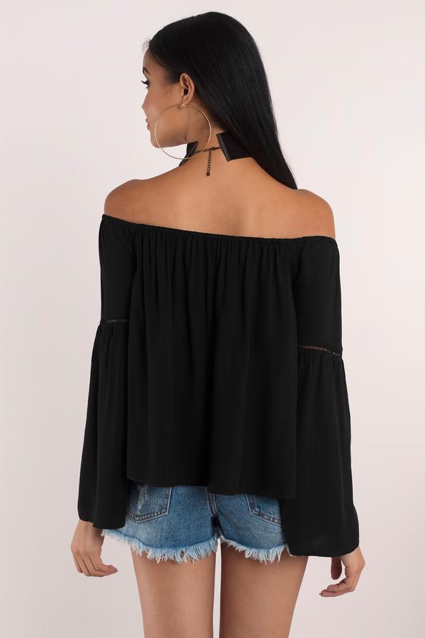 382e1d31131 Cute Black Shirt - Black Shirt - Off Shoulder Shirt - Black Top - $8 ...