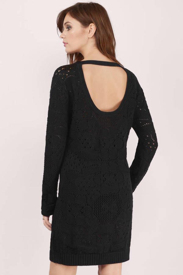 Cute Black Day Dress - Black Dress - Knitted Dress - $46.00