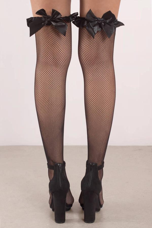 c88d76255df74b Elise Black Bow Tie Knee High Fishnet Stockings - € 18 | Tobi IE