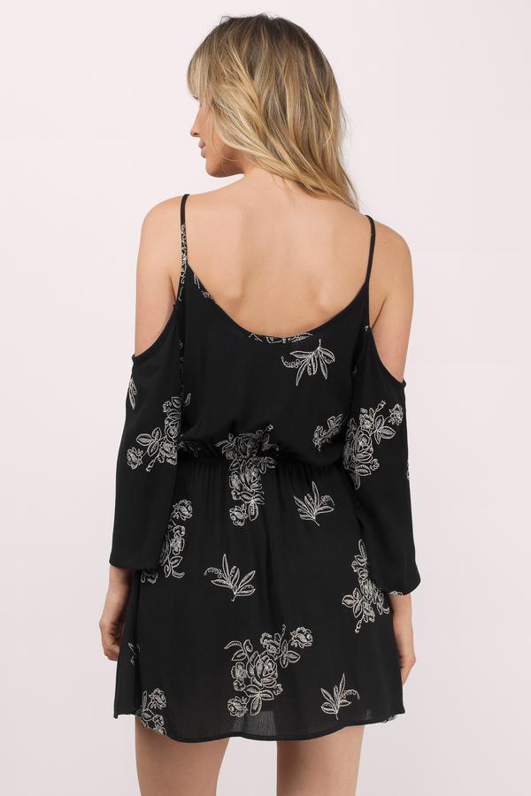 e5027e4ab90 Cute Black Shift Dress - Cold Shoulder Dress - C  118
