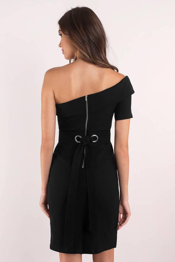 cab05c86e41a Chic Black Dress - One Shoulder Dress - Polyester Bodycon Dress ...
