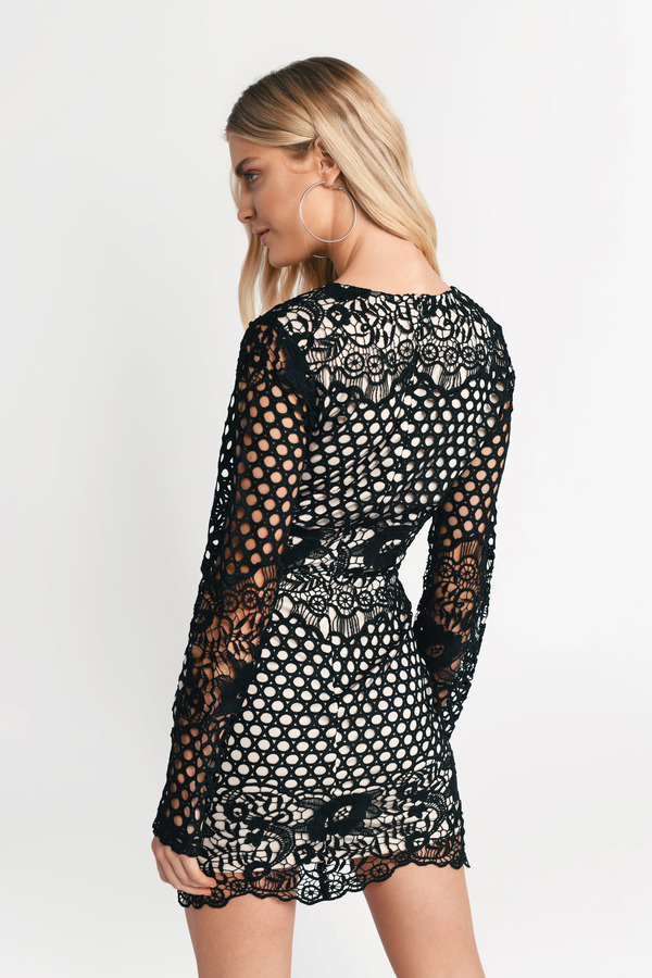 Black Bodycon Dress Long Sleeve Dress Black Lace Overlay 31