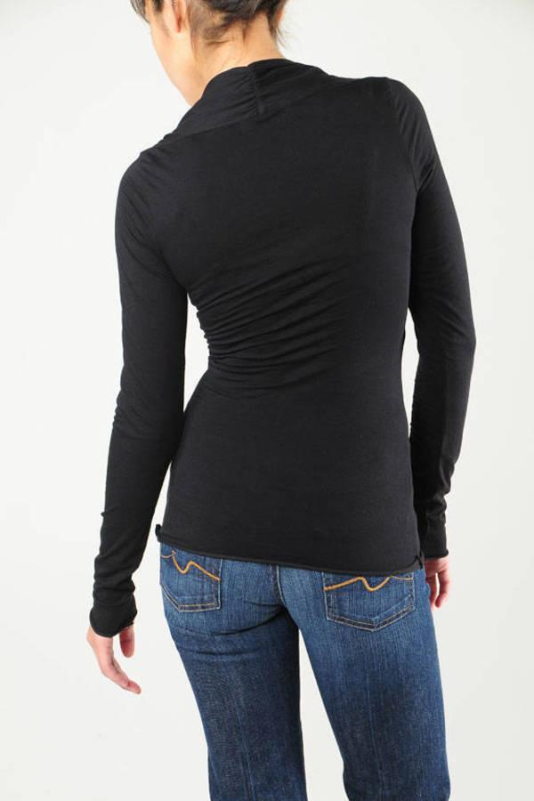 ba7d285a705701 Black Velvet Top - Slimming T-Shirt - Black Fitted Long Sleeve Top ...
