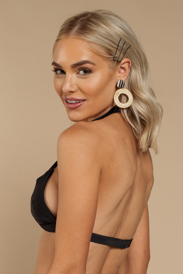 4cd730f79902 Black Bikini Top - Halter Neck Swimsuit - Black Caged Swim Top - £10 ...