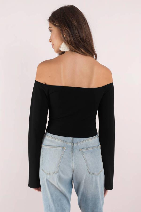 0877b3b5209b07 Trendy Black Crop Top - Off Shoulder Crop Top - Black Bell Sleeves ...