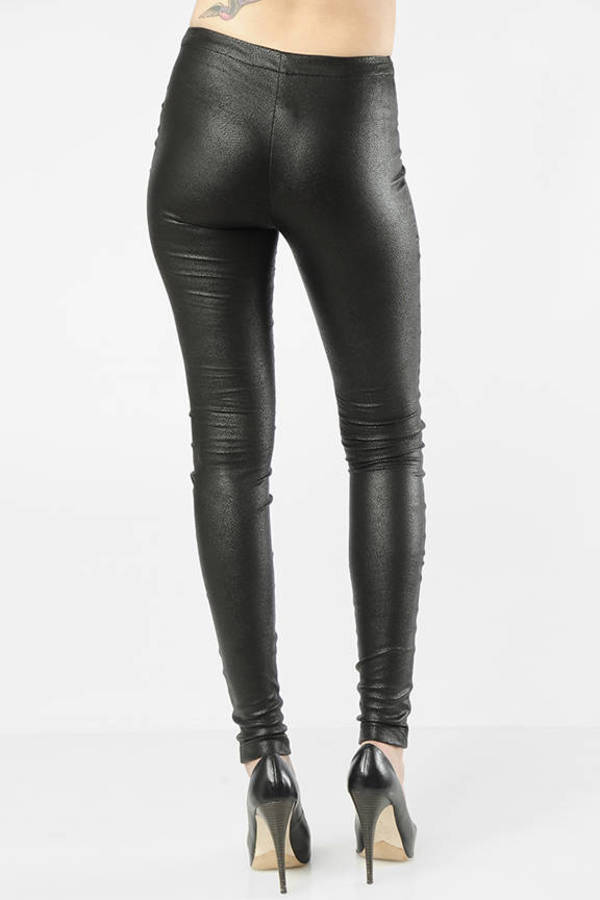 Black Faux Leather Leggings With Exposed Zip Front Women's Clothing