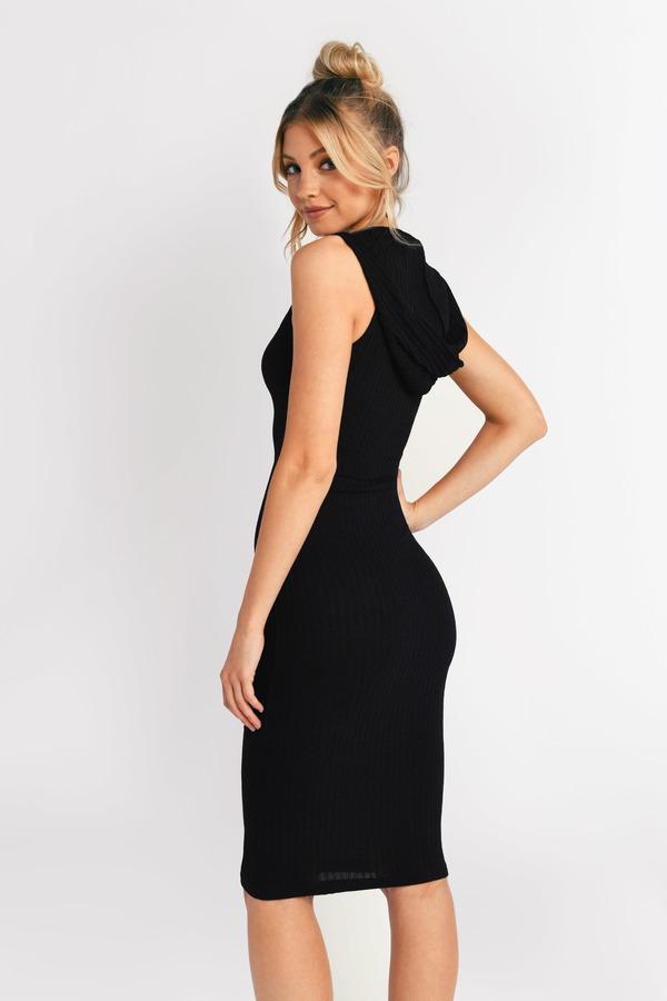 1c1b364b9589 Cute Black Dress - Ribbed Dress - Sleeveless Hooded Dress - Day ...