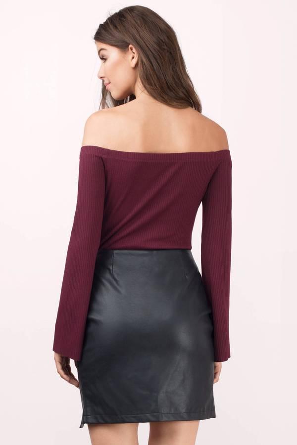 Black Skirt - Black Skirt - Front Slit Skirt - $32.00