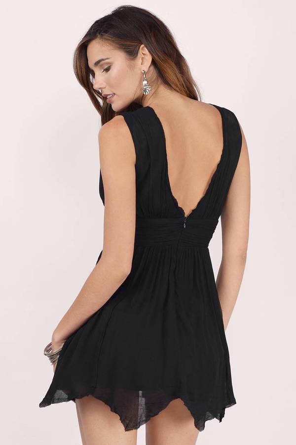 Black Skater Dress Black Deep V Dress Short Backless