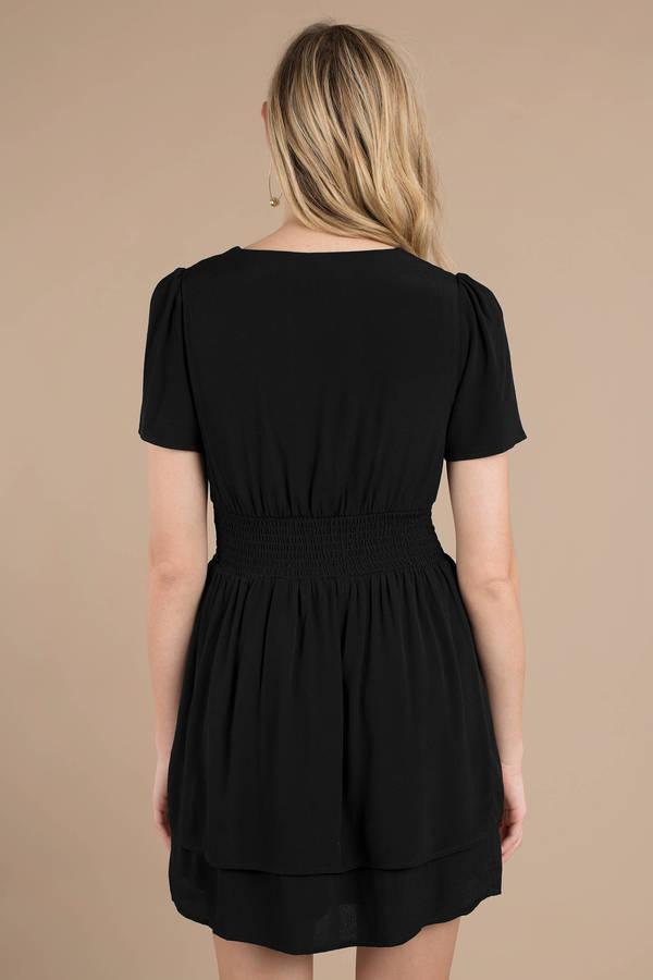 Black Skater Dress Smocked Dress Black V Neck Dress 49 Tobi Us