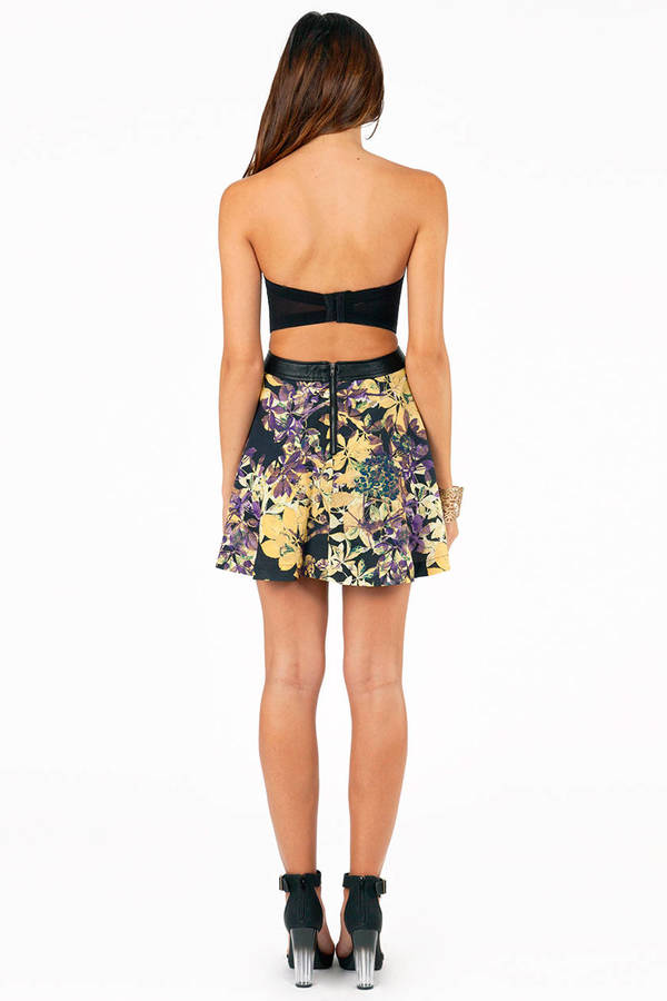 Midnight Floral Skater Skirt