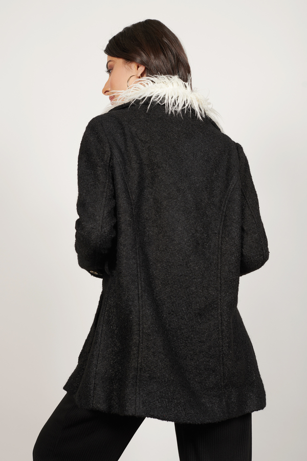 Trendy Black Coat - Black Coat - Faux Fur Coat - Black Coat - $32 ...