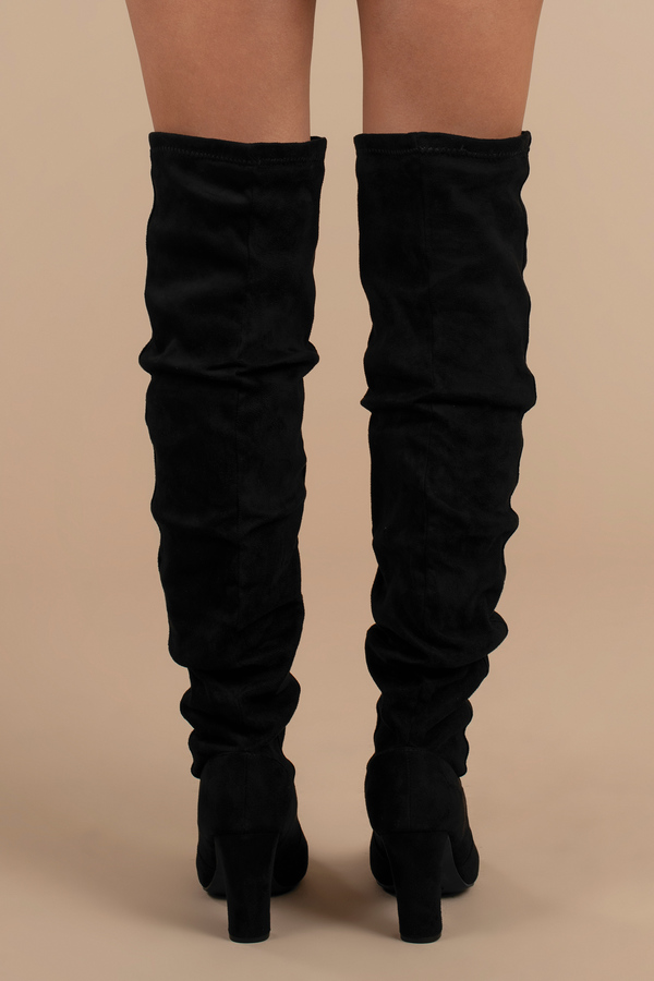 129629da75b Trendy Black Boots - Slouchy Knee High Boots - Black Vegan Boots - C ...