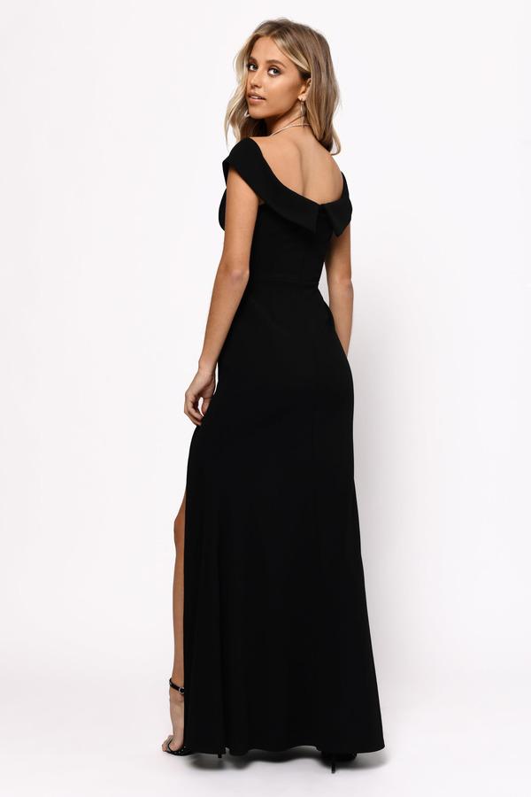 53ba0b655aa7 Black Maxi Dress - Open Shoulder Dress - Black Formal Slit Gown - C ...