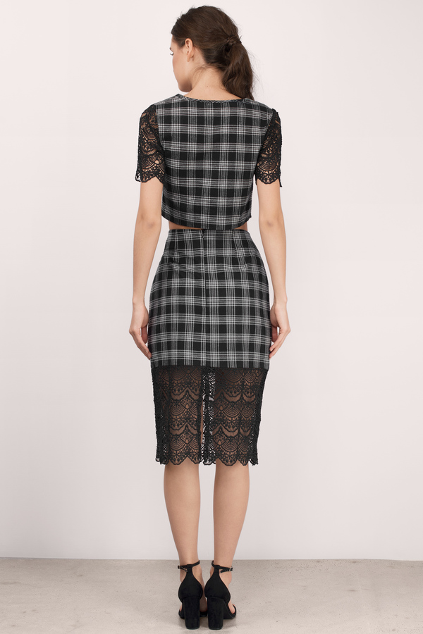 Trendy Black & Grey Skirt - Lace And Plaid Skirt - $9.00