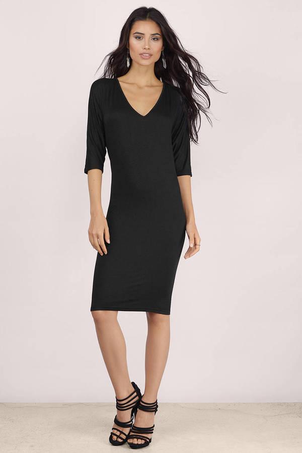 Black Dress - Backless Dress - Forest Black Midi Dress - Midi ...