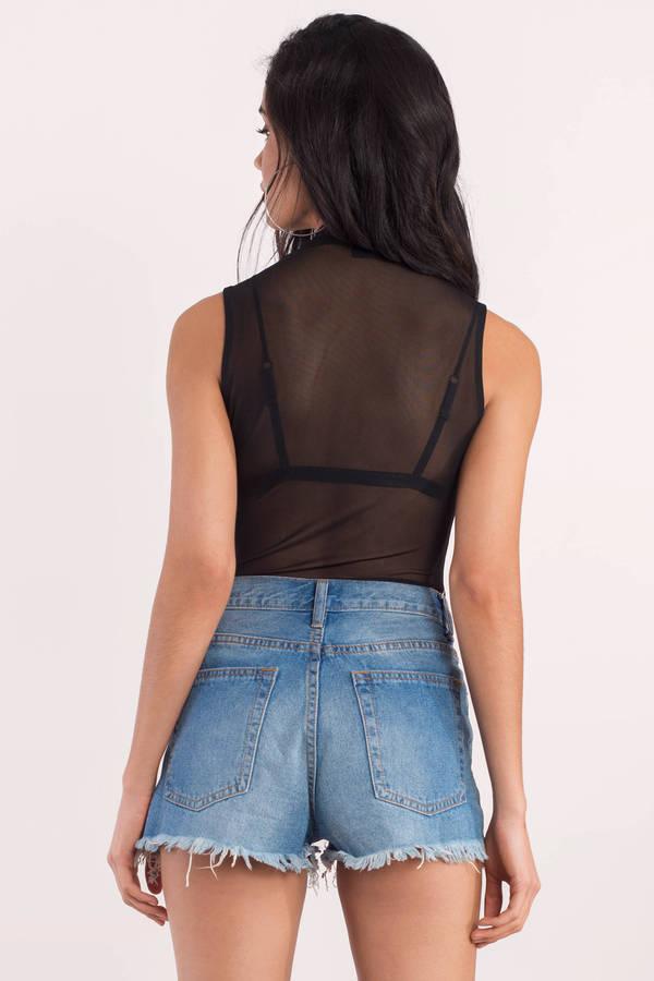 131f85db9e Trendy Black Bodysuit - Mesh Bodysuit - Black Bodysuit - € 10 | Tobi NL