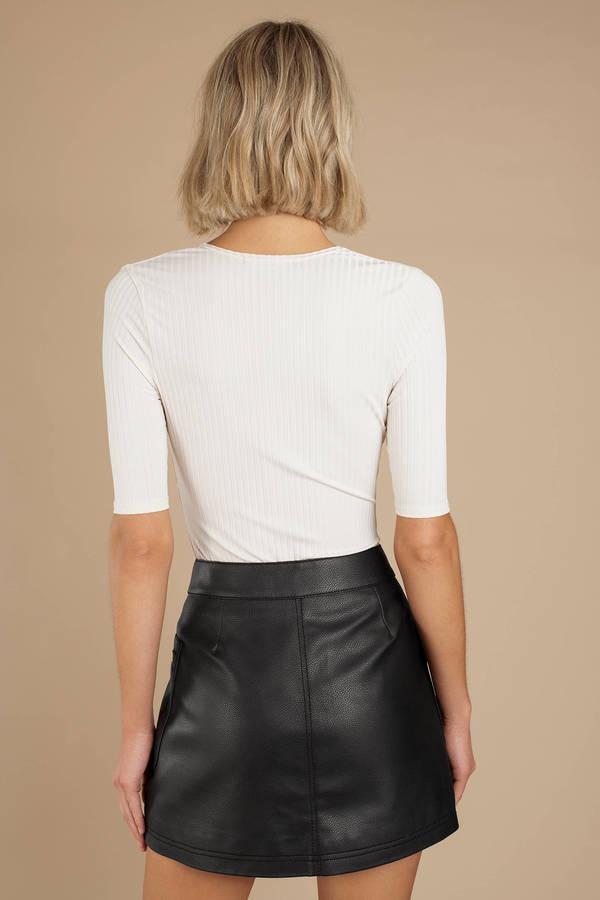 e1c21a72e141 Black Free People Skirt - Vegan Leather Skirt - Black Faux Leather ...