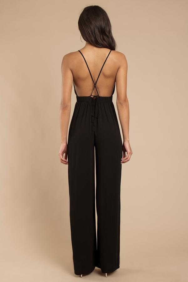e4787acb61 Trendy Black Jumpsuit - Deep V Jumpsuit - Black Jumpsuit -  34
