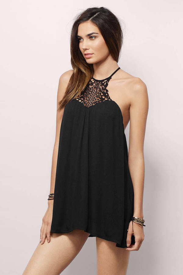 Trendy Black Shift Dress Spaghetti Strap Dress Shift Dress 10