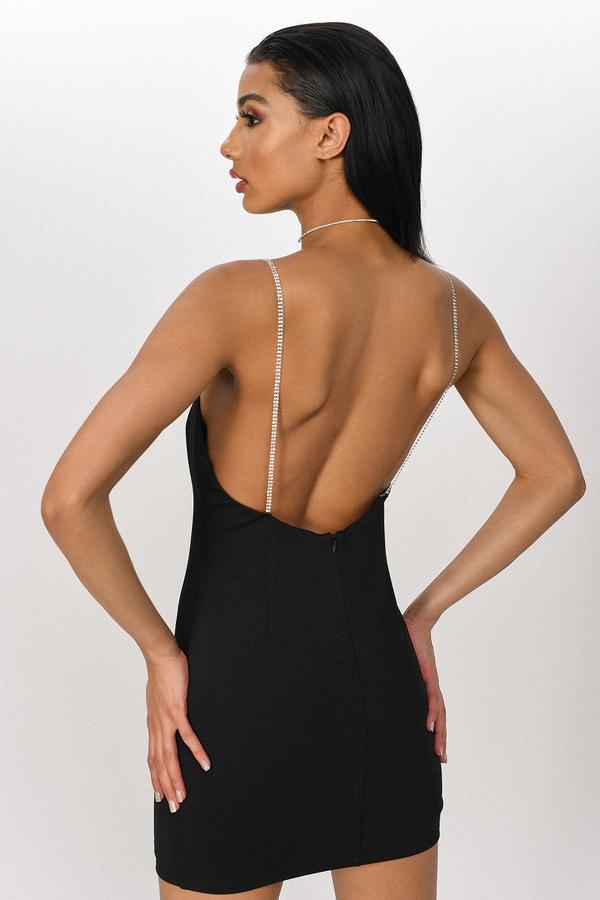 9e0530712589 Black Bodycon Dress - Diamante Straps Dress - Black Low Back Dress ...