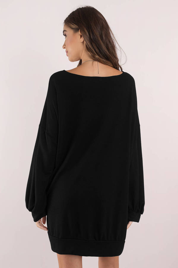Cute Black Dress Long Sleeve Black Sweatshirt Dress