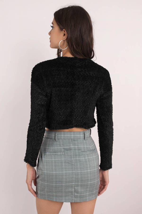 Sexy Black Sweater - Cropped Sweater - Fuzzy Black Sweater ...