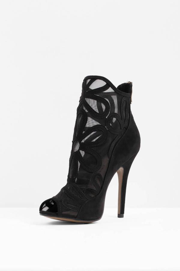 Black Heels - Peep Toe Heels - Mesh Black Heels - $90 | Tobi US