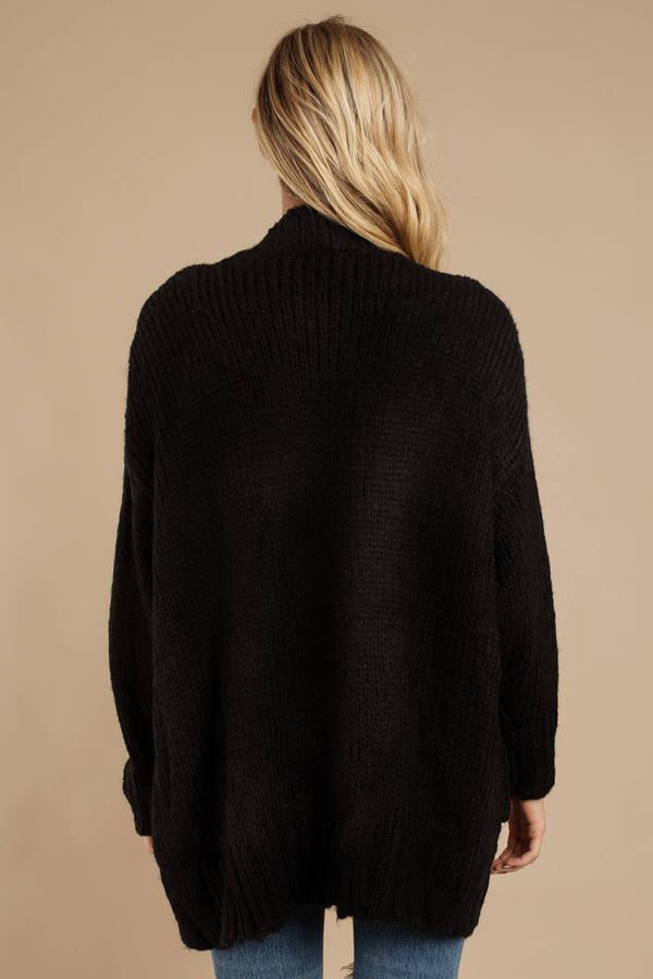 bf07ebdd570c Black Cardigan - Oversized Cardigan With Pockets - Black Longline ...